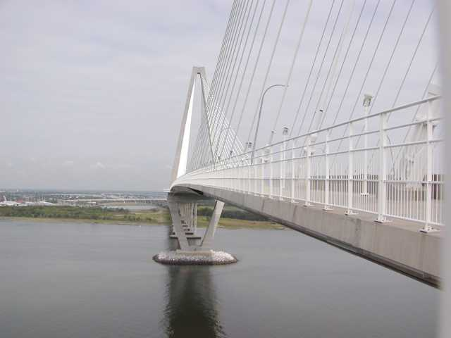 View along the Ravenel Bridge structure from the pedestrian path