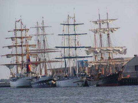View of several Tall Ships